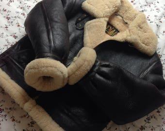 Manteau bombardier veritable femme en cuir et fourrure de mouton