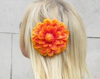 Orange Dahlia Flower Hair Clip Large Lotus Rockabilly Rose Big Vintage 1950s 999