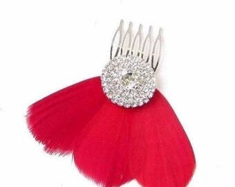 Red Feather Fascinator Hair Comb Silver Diamante Bridesmaid 1920s Clip Vtg 2396