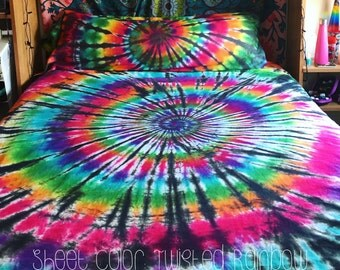 Tie Dye Sheet Set - 100% Cotton - 1 Fitted Sheet - 1 Flat Sheet - 2 Pillow Cases  -  Michigan Made - Handmade - Hippie Bedding