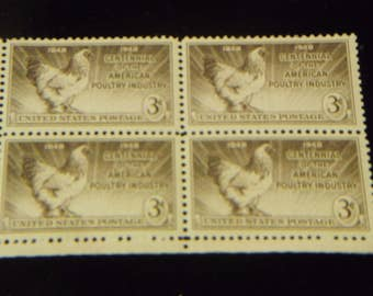 1948 Centennial of the American Poultry Industry 3 cents Stamps/ 4 stamp Block/Unused