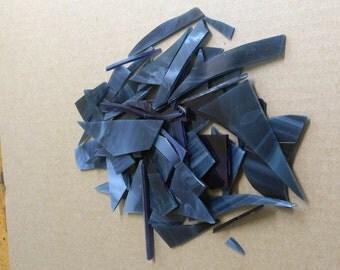 Steel Blue Glass Scrap-1 lb-Blue Glass Mix-Scrap Glass-Mosaic Glass