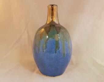 Small blue and silver vase, unique hand made ceramic