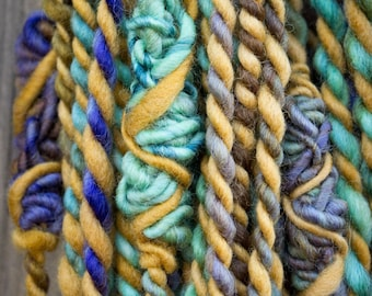 Mohave Turquoise Granny Stack Handspun Art Yarn with Toffee