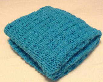 Hand knit blue baby blanket/easy to wash and dry hand knitted blue baby blanket/car seat blanket/stroller blanket/crib blanket