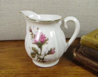 Small White Porcelain Creamer - Floral Pattern - Pink Moss Rose - Gold Accent