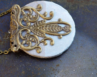 Silver Necklace, handpainted with filigree detail, cement jewellery