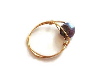 Black Pearl Ring - Natural Pearl Ring - Black And Gold Ring - Pearl Ring Size 7 - Black Pearl Ring Size 7 - Gold Ring Size 7 - Wire Ring
