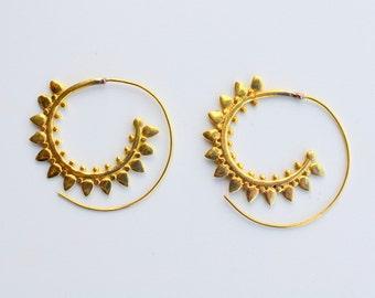 Brass Spiral Earrings - Golden Hoop Earrings - Tribal Earrings - Gypsy earrings - Free Nichel