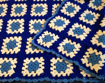 Blue White Granny Square Afghan, Crocheted Granny Square Afghan, Blue White Afghan, Crochet Blue White Afghan, Blue White Throw, Blanket
