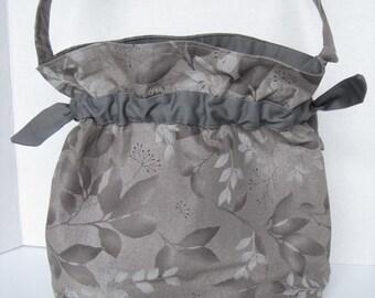 Handbag Purse Women's Accessories Fabric Handmade Drawstring Gray Leaves