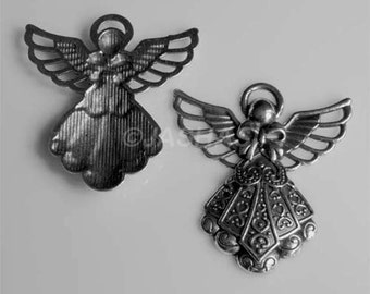5 Angel Large Tibetan Silver Charms (678)