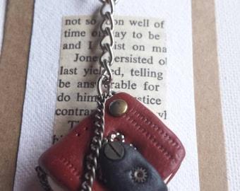Handmade Polymer clay miniature dark red book keyring