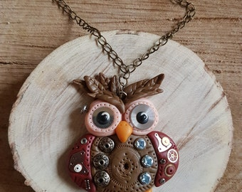 Handmade Polymer clay Steampunk brown peach and red Owl necklace