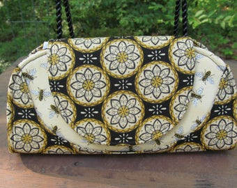"""READY to Ship--""""Cleo"""" Wallet/Mini Clutch made with Coordinating Honey Bee Print Fabrics"""
