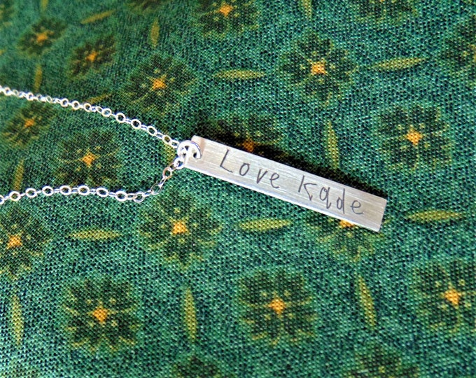 """Child's Writing on Vertical Bar Necklace (1.2""""x .2"""") Yellow Gold, Rose Gold, Sterling Silver Personalized, Custom, Unique,Bridesmaid Mother"""