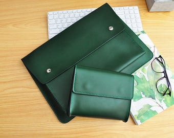 Handmade Green Leather New Macbook Pro Case 13inch /15inch New Macbook Sleeve Genuine Leather New Macbook 12inch Case Leather Laptop Bag-081