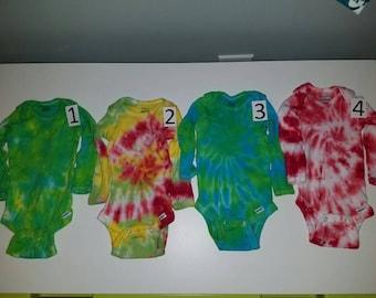 Tie dye Long sleeve Baby Onesie 0 to 3 months
