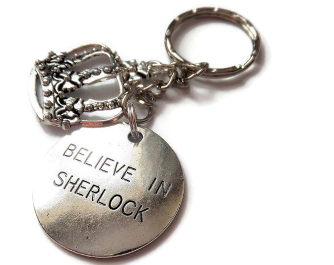 Sherlock Holmes inspired  Believe in Sherlock 33mm silver pendant charm keyring with Crown Uk