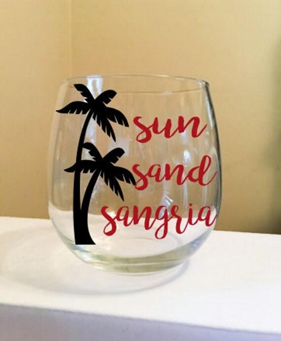 Sun Sand Sangria Stemless Wine Glass