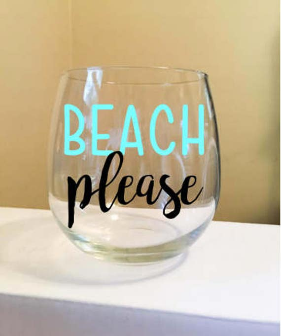 Beach Please Stemless Wine Glass