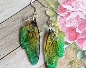 Fairy Wing Earrings, Fairy Earrings, Sterling Silver Earrings,  Fairy Jewelry, OOAK, Fairy Jewellery, Fantasy Earrings, Handmade, Faery