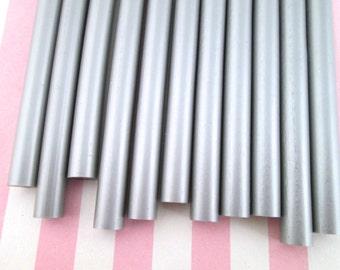 10 Piece Silver Metallic Hot Glue Sticks for Kawaii and Decoden, Wax Seals, Etc.