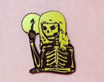 Skeleton Fire Magic Pin, yellow and black, laser cut acrylic