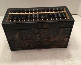 Vintage Chinese Abacus Box ~ Chinese Calculator ~ Wooden Box ~ Math