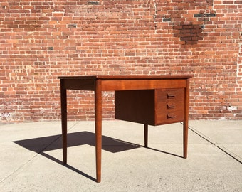 danish modern teak desk by borge mogensen mid century mad men office furniture