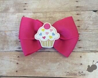 Babys First Birthday Bow - Cupcake Hair Bow - Cupcake Hair Clip - Toddler Birthday Bow - Baby Birthday Hair Bow - Birthday Hair Bow Headband