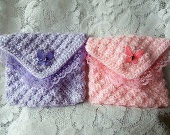 Crochet Purse - Rainbow Wedding Clutch - Pretty Lacy Blue Green Pink Purple Yellow Peach Lace Trim Butterfly Decoration Snap Fastener Bag