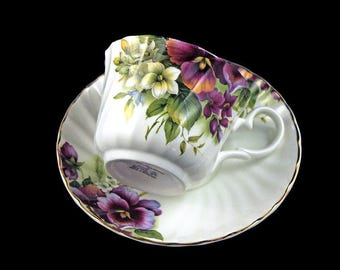 Teacup and Saucer, Crownford Giftware, Pansy Pattern, Floral Design, Gold Trimmed