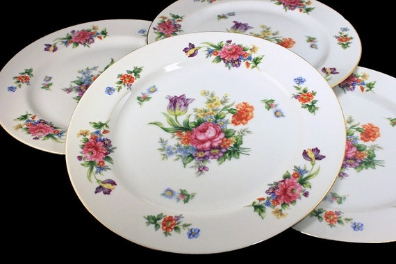 Dinner Plates, Sango China, Occupied Japan, Floradel, Floral Pattern, Multi-floral, Gold Trim, Set of 4