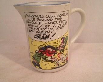 Old decanter pitcher GASTON LAGAF Franquin 1986 earthenware