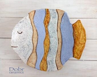 Big ceramic plate, Handmade ceramic dish, Handmade pottery, Fish,  Decorative plate, Made to order
