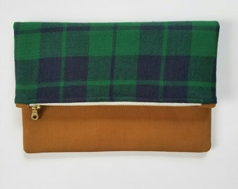 """The """"Kate"""" Fold over Clutch, plaid, flannel, zipper pouch, iPad sleeve"""