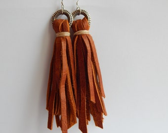 Brown  Leather Fringe Earrings  Tribal earrings Ready to ship