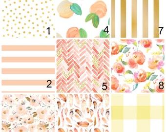 Peach Bedding - Girl Crib Set - Crib Bumpers - Peaches - Peach Blanket - Peach Crib Sheet - Girl Bedding - Peach Nusery - Floral - Gold Dot