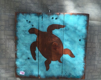 Painted Sea Turtle on wood - Wall Decor - nautical beach decor