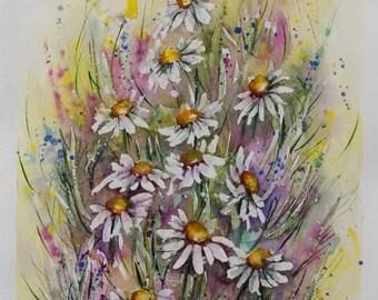 Daisies painting, Original Watercolor Painting, white flowers, Watercolor flowers, watercolor art, Wedding gift art, Floral Watercolor, art