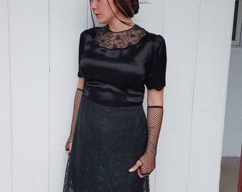Stunning vintage 1930 lace dress with satin bodice good condition FREE SHIPPING from RCMooreVintage