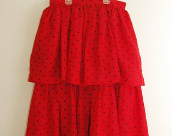 """Vintage 1980's Red Polka Dot Skirt M L 28"""" Waist Ruffle Double Tiered A Line Black"""