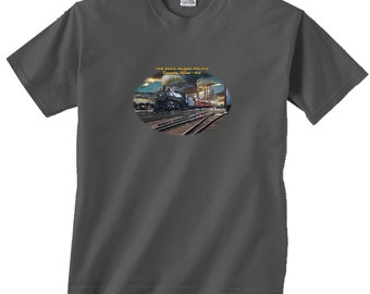 The Rock Island Pacific Departing Peoria 1932 Black Locomotive Train T-Shirt