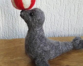 Sally the circus seal/sea lion (needle felted soft sculpture)
