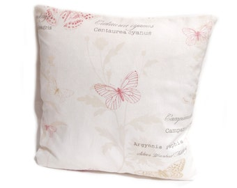 """Beige Butterfly Cushion Cover, 16"""" Square Cushion Cover"""