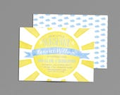 Sunshine Birthday Party Invitation, You are my Sunshine Boy Baby Shower Invite, Blue Our Little Ray of Sunshine, Winter 1st Bday Printable