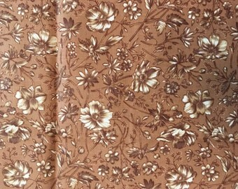 Brown Cotton Fabric, Quilting Fabric, Jennifer Sampou Fabric, Robert Kaufman Fabric, Floral Fabric, Leaves Fabric,  1/2 yard
