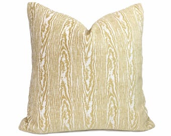 "Designer Citron Yellow Faux Bois Woodgrain Pattern Upholstery Pillow Cover, Fits 12x18 14x20 16x26 16"" 18"" 20"" 22"" 24"" 26"" Cushions"