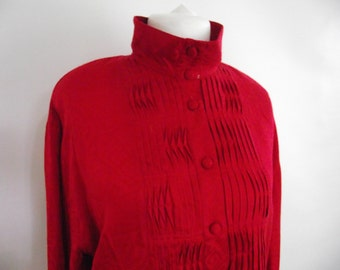 Vintage Jacques Vert shirt blouse 80s red with embossed graphic print funnel neck long sleeve  size large
